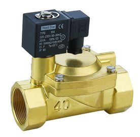 Brass 3 Inch Solenoid Valve Low Power Slowly Heating Up For Water / Air / Steam / Oil
